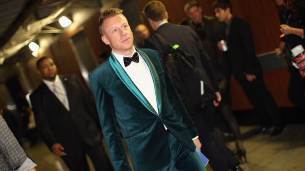Macklemore at the 56th Grammy Awards at the Staples Center in Los Angeles, California, on January 26th, 2014.