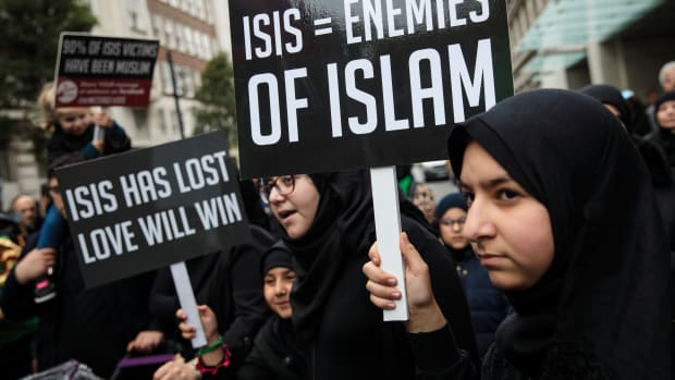 Protesters hold placards during the annual Ashura march in Marble Arch on October 1st, 2017, in London, England. Hundreds of protesters marched through London to mark Ashura and celebrate the defeat of the Islamic State in Iraq and Syria. Ashura is a Muslim festival of remembrance that falls on the 10th day of Muharram in the Islamic calendar.
