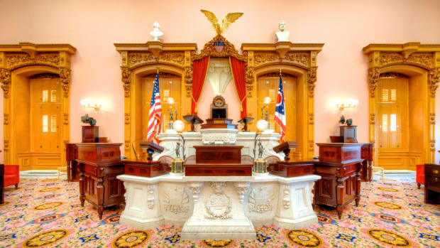 The speaker's dais in the House Chamber of the Ohio State House.