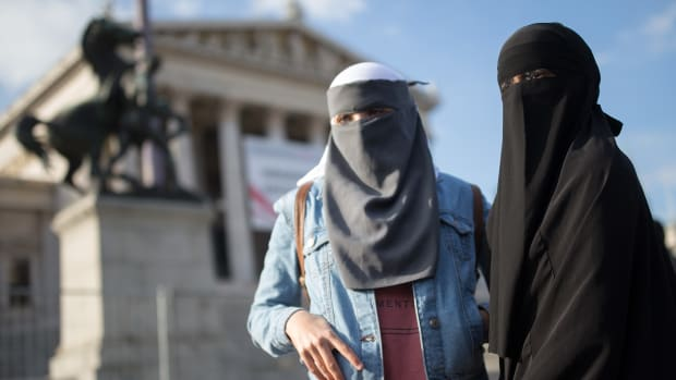 Women wearing a traditional hijab headdress protest against Austria's ban on full-face Islamic veils in Vienna, Austria, on October 1st, 2017.