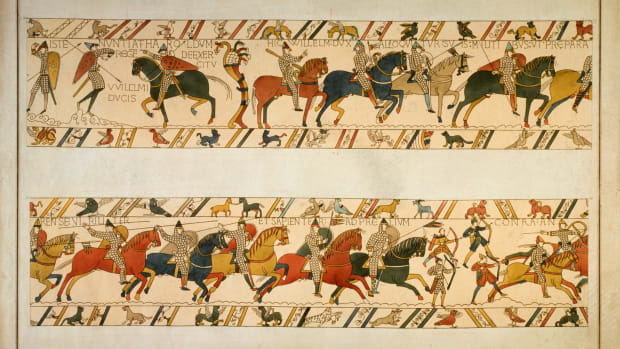A scene from the Bayeux Tapestry, depicting the Norman Invasion of 1066.