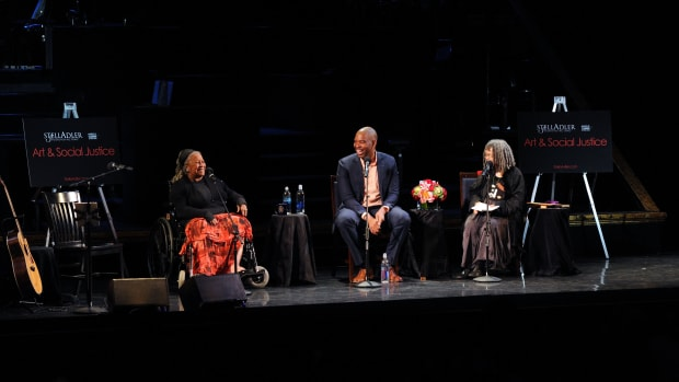 Toni Morrison, Ta-Nehisi Coates, and Sonia Sanchez at a panel on Broadway on June 15th, 2016, in New York City.
