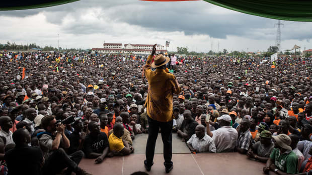 Opposition leader Raila Odinga speaks to the crowd gathered at a rally at the Ogango Grounds on October 20th, 2017, in Kisumu, Kenya. Tensions are high as Kenya awaits a new presidential election after it annulled the results of the first vote in August.