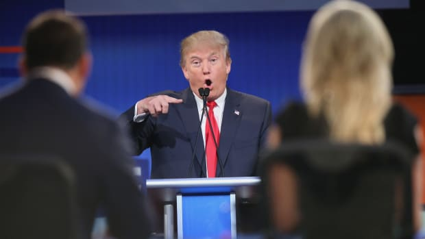 Donald Trump fields a question during the first Republican presidential debate hosted by Fox News and Facebook at the Quicken Loans Arena on August 6th, 2015, in Cleveland, Ohio.