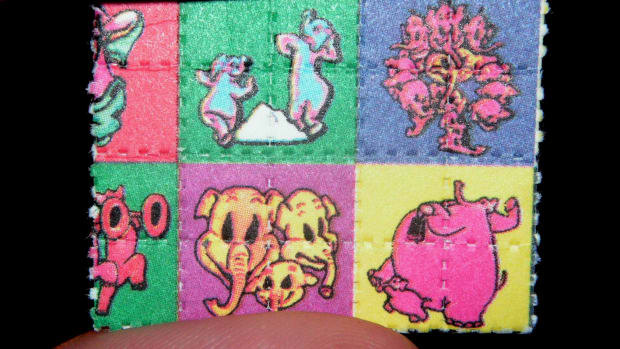 Pink elephant blotters containing LSD.