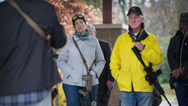 Gun rights activists gather before a march on November 16th, 2015, in Ferguson, Missouri.