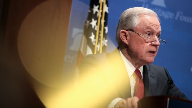 U.S. Attorney General Jeff Sessions speaks at the Heritage Foundation's Legal Strategy Forum on October 26th, 2017, in Washington, D.C.