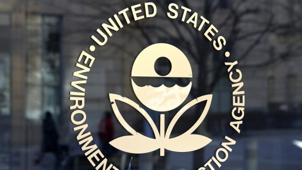 The Environmental Protection Agency's logo is displayed on a door at its headquarters on March 16th, 2017, in Washington, D.C.
