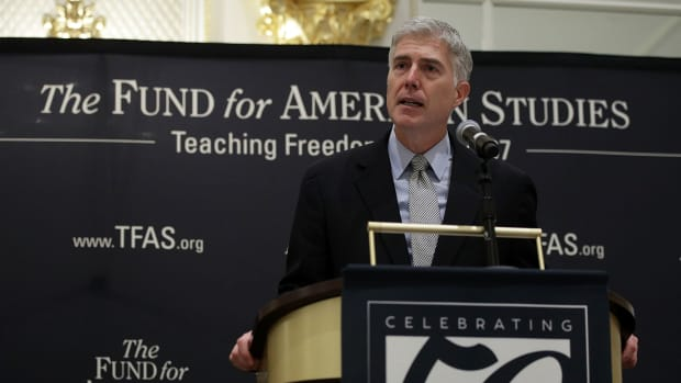 U.S. Supreme Court Justice Neal Gorsuch speaks during an event hosted by the Fund for American Studies on September 28th, 2017, at Trump International Hotel in Washington, D.C.