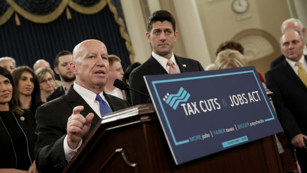 Chairman of the House Ways and Means Committee Kevin Brady and Speaker of the House Paul Ryan introduce tax reform legislation on November 2nd, 2017, in Washington, D.C.