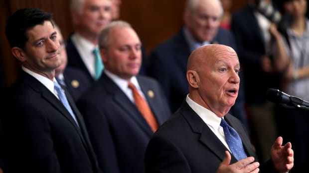 House Ways and Means Committee Chairman Kevin Brady (R-Texas), Speaker of the House Paul Ryan (R-Wisconsin), and House Majority Whip Steve Scalise (R-Louisiana) address a news conference to introduce the House Republicans' tax reform proposal on June 24th, 2016.