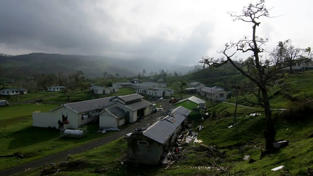 The damaged buildings of Queen Victoria School in Tailevu, Fiji, after Cyclone Winston swept through the area, pictured here on February 24th, 2016.