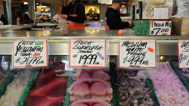 Seafood and fish for sale at the Pike Place Fish market in Seattle, Washington.