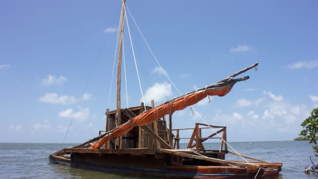 A traditional drua, built by Semiti Paki and moored off Korova in Fiji.