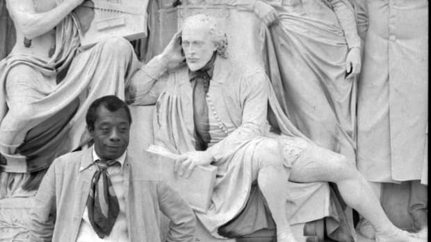 James Baldwin on the Albert Memorial in Kengsington Gardens, London.