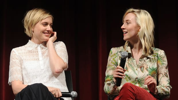 Director Greta Gerwig and Saoirse Ronan on November 7th, 2017, in New York City.