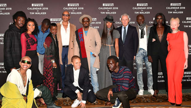 Participants attend the 2018 Pirelli Calendar launch press conference at the Pierre Hotel on November 10th, 2017, in New York City.