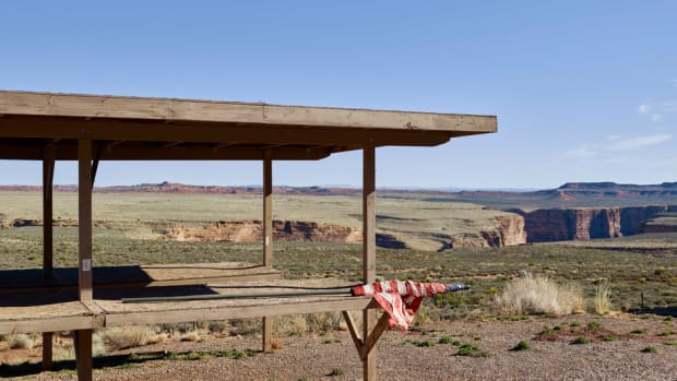 Outside the entrance to the Glen Canyon National Recreation Area, Arizona.