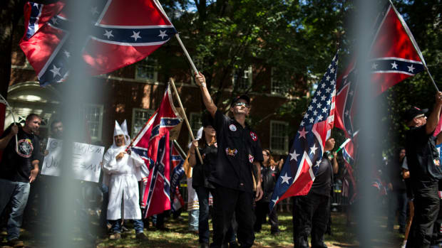 The Ku Klux Klan protests the planned removal of a statue of General Robert E. Lee on July 8th, 2017, in Charlottesville, Virginia.