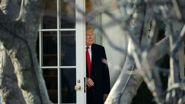 President Donald Trump leaves the White House on December 21st, 2017, in Washington, D.C.