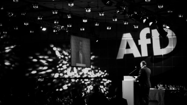 Georg Pazderski of the right-wing Alternative for Germany speaks during his election speech as co-chairman during the AfD federal congress at the Hannover Congress Centrum.