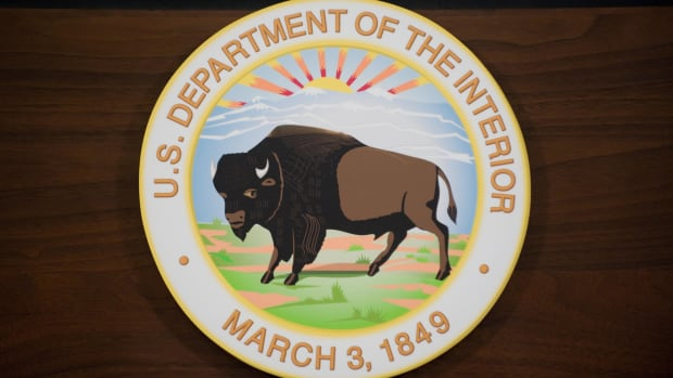 The seal of the U.S. Department of the Interior is seen on a podium in Washington, D.C.