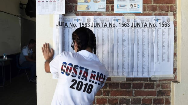 Valeria Gonzalez, 19, votes for the first time, at the Porfiro Brenes school in Moravia, San Jose, on February 4th, 2018. Polling stations opened in Costa Rica on Sunday for the first round of the Central American country's presidential election, which is being buffeted by a debate on gay marriage.