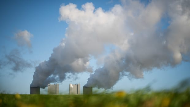 Steam rises from the Neurath coal-fired power plant operated by German utility RWE on November 13th, 2017, near Bergheim, Germany.