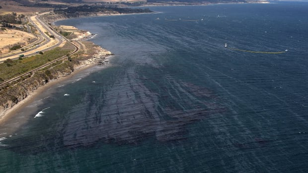 An oil slick is visible on the surface of the Pacific Ocean near Refufio State Beach on May 21st, 2015, in Goleta, California.