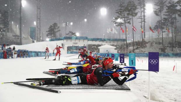 Franziska Preuss of Germany shoots during the women's biathlon 4x6-kilometer relay on day 13 of the PyeongChang 2018 Winter Olympic Games at Alpensia Biathlon Centre on February 22nd, 2018, in Pyeongchang-gun, South Korea.