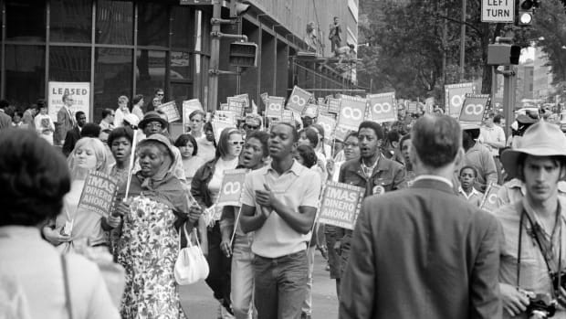 Demonstrators participate in the Poor People's March in Washington, D.C., in 1968.