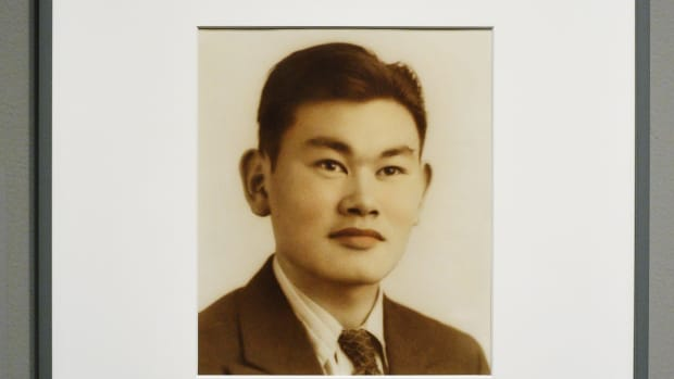 The portrait of Fred Korematsu is seen in the National Portrait Gallery on February 2nd, 2012, in Washington, D.C.