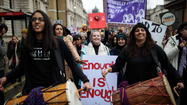 Thousands of protesters march during the March4Women event on March 4th, 2018, in London, England. Demonstrators called for an end to gender-based discrimination in the workplace.