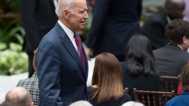 Vice President Joe Biden arrives for the unveiling of the portraits of President Barack Obama and First Lady Michelle Obama at the Smithsonian's National Portrait Gallery in Washington, D.C., on February 12th, 2018.