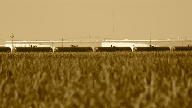 Tank cars offloading crude oil in St. James, Louisiana.