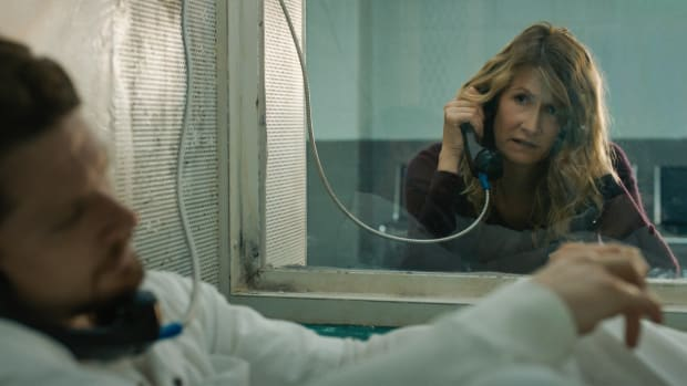 Jack O'Connell and Laura Dern in Edward Zwick's Trial by Fire.