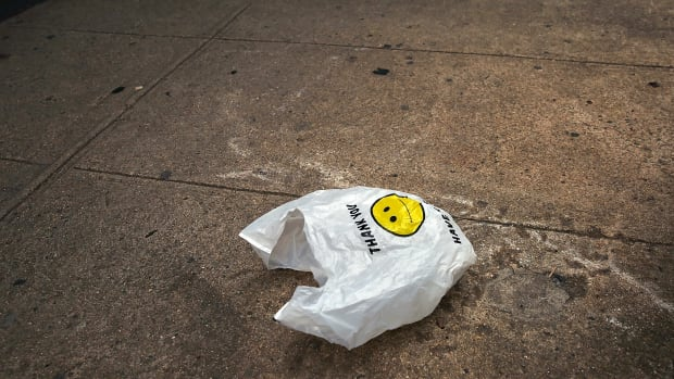 A plastic bag sits in a Manhattan street on May 5th, 2016 in New York City.