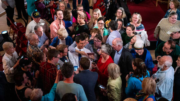 South Bend, Indiana, Mayor Pete Buttigieg greets supporters after a Fox News town hall on May 18th, 2019, in Claremont, New Hampshire. Buttigieg, one of 23 Democrats seeking the 2020 presidential nomination, pitched four distinct tax hikes at the event when asked about the deficit.