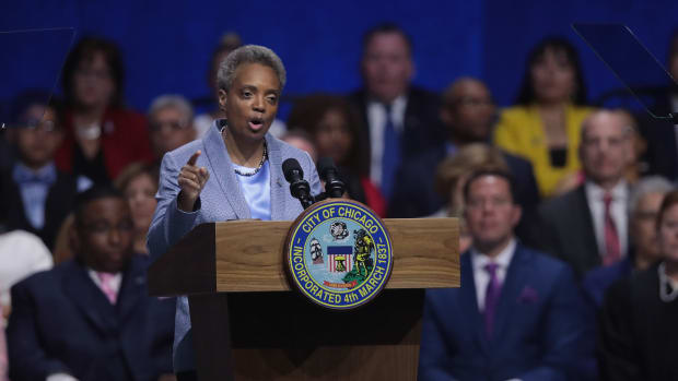 Lori Lightfoot addresses guests after being sworn in as mayor of Chicago during a ceremony at the Wintrust Arena on May 20th, 2019, in Chicago, Illinois. Lightfoot is the first black female and openly gay mayor in the city's history.