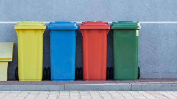 Recycling bins trash waste compost