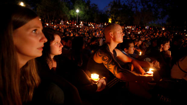 Students gather on the University of California–Santa Barbara campus for a candlelight vigil for those affected by the tragedy in Isla Vista on May 24th, 2014.