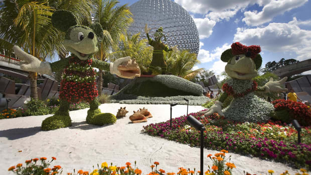 Disney character topiaries are on display at Disney World's Epcot in Orlando, Florida.