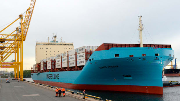 Maersk's new ice-class container vessel, Venta Maersk, loaded with Russian fish and South Korean electronics, arrives at the port of Saint Petersburg on September 28th, 2018, becoming the first container ship to navigate the Russian Arctic as the ice pack melts and recedes.