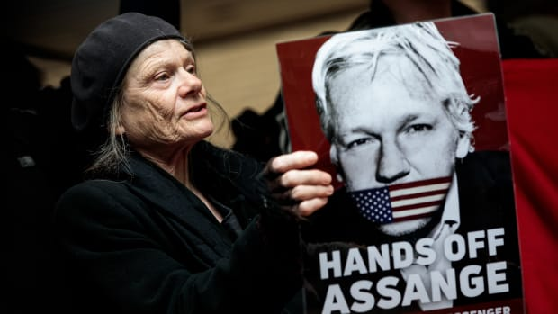 Protesters demonstrate in support of WikiLeaks Founder Julian Assange outside Southwark Crown Court, where he was sentenced on May 1st, 2019.