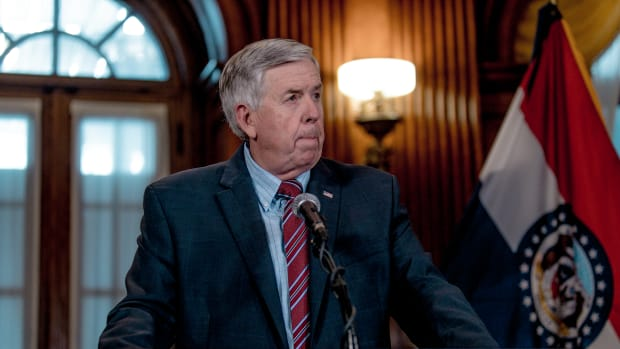 Missouri Governor Mike Parson listens to a media question during a press conference to discuss the status of license renewal for the St. Louis Planned Parenthood facility on May 29th, 2019, in Jefferson City, Missouri.