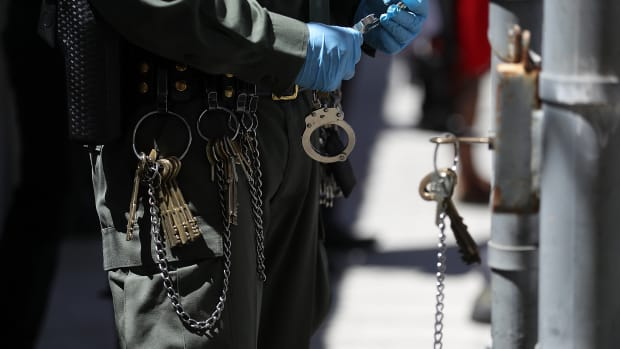 Keys and chains hang from the belt of a California Department of Corrections and Rehabilitation officer at San Quentin State Prison.