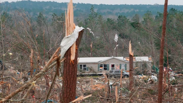 Damage is seen from a tornado that killed at least 23 people in Beauregard, Alabama, on March 4th, 2019.