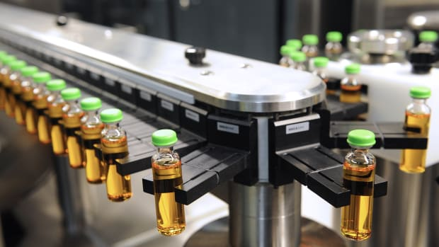 A high-speed production line of insulin is pictured at the factory of Novo Nordisk, a global health-care company.