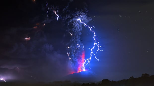 A view from Frutillar, Chile, showing volcanic lightning and lava spewed from the Calbuco volcano on April 23rd, 2015.