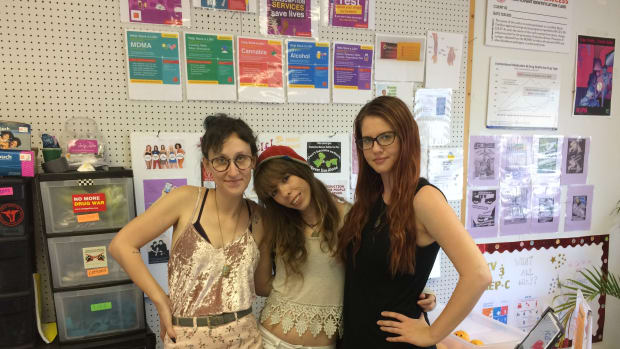 At the Wilmington Exchange from left to right: Bernadette Calicchio, Becca Lilly, and Bree Cassel.
